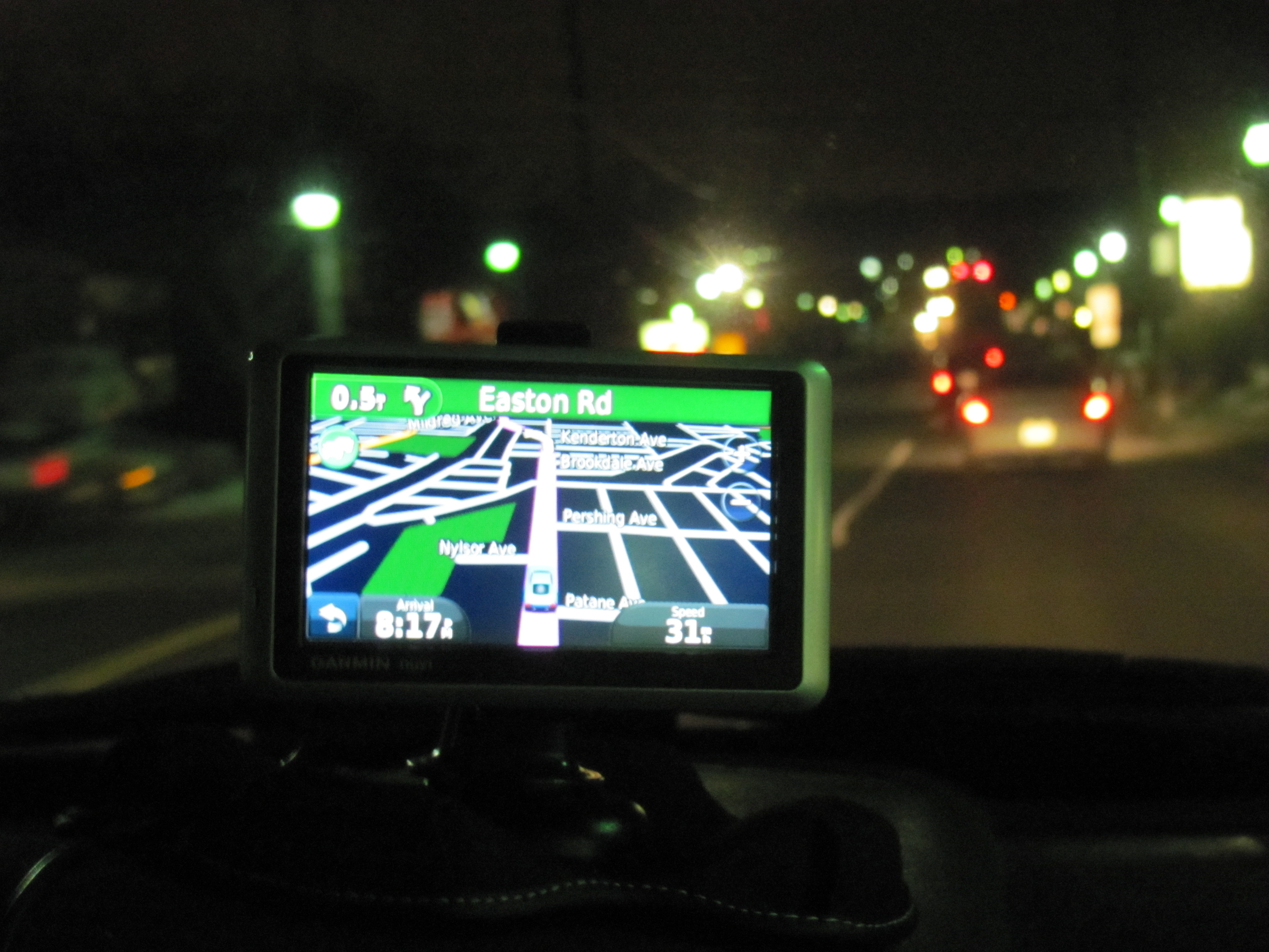 garmin on dashboard at night