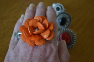 flower ring on a finger