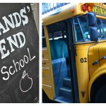 lands end sign and a school bus