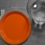 orange colored empty plate and a water glass
