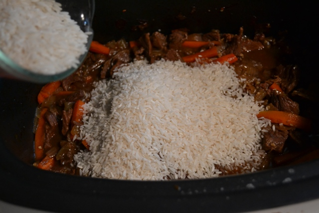 uncooked rice on beef
