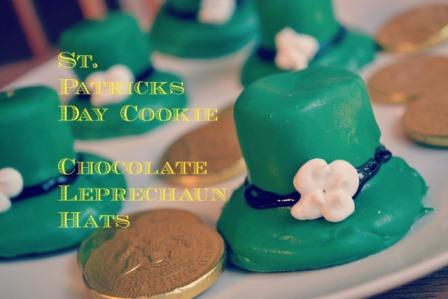 chocolate covered cookies that look like Leprechaun Hats