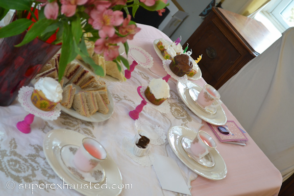 ... tea table set up & American Girl Party